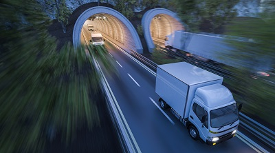 image of truck driving through tunnel in New York